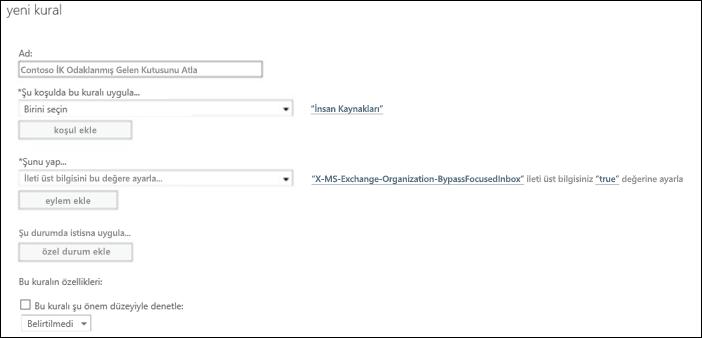 Ekran görüntüsü: Yeni Odaklanmış Gelen Kutusu kuralı oluşturma ve kaydetme