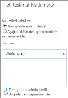 Kimliği doğrulanmış kullanıcıları kapatma onay kutusu