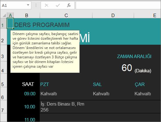 Öğelere yönelik açıklamalar içeren Yeni Üniversite Ders Yöneticisi Excel şablonu.