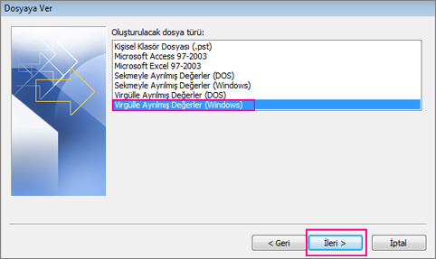 Virgülle Ayrılmış Değerler Dosyası'nı (Windows) seçin