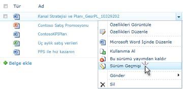 SharePoint dosyası için açılan liste. Sürüm Geçmişi seçilidir.