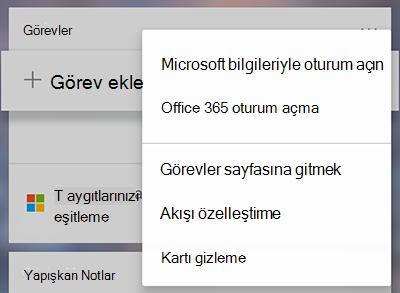 Daha fazla menü seçeneği Microsoft veya Office 365'te daha fazla görevler ile oturum gösteren ekran görüntüsü Kartvizit