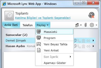 Lync Web App Paylaş menüsü