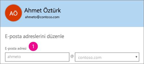 Office 365'te e-posta adresi profil alanını gösteren ekran görüntüsü