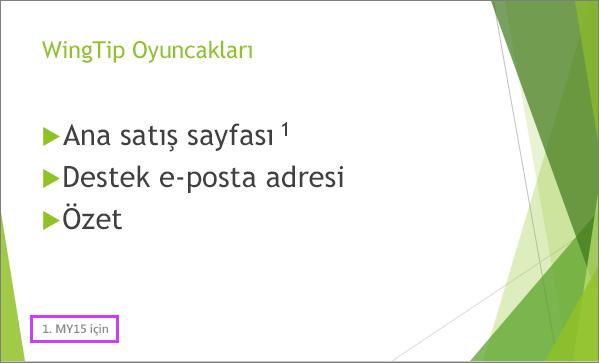 PowerPoint'te alt bilgi içeren bir slayt