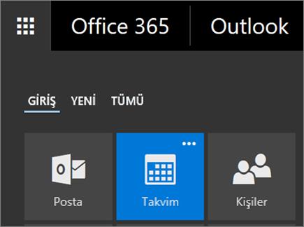 Office 365 Uygulama Başlatıcı'daki Takvim kutucuğunun ekran görüntüsü.