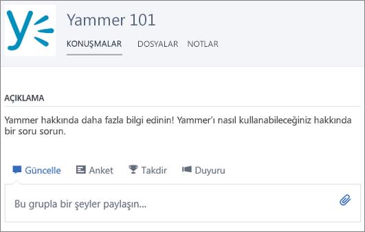 Yammer 101 grubu örneği