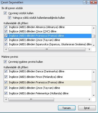 Çeviri Seçenekleri iletişim kutusu