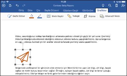 Grafik düzenleme sekmesini gösteren iOS için Word