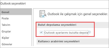 Outlook ayarları seçeneklerini gösterir