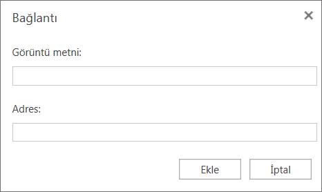 Köprüler için görüntü metni ve adres bilgileri sağlayabildiğiniz Bağlantı iletişim kutusunu gösteren ekran görüntüsü.
