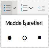 OneNote Online'da madde işaretli liste menüsü.