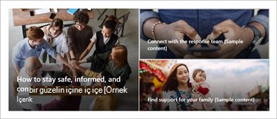 """Kriz yönetimi site şablonu giriş sayfasındaki Hero web bölümü. Bu, """"Krizde güvende kalma, bilgi sahibi ve bağlantıda kalma"""", """"En güncel bilgileri al"""" ve """"Siz ve aileniz için destek bulun"""" metin başlıklarıyla üç büyük görüntü içerir."""