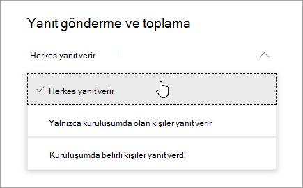 Microsoft Forms için paylaşım seçenekleri