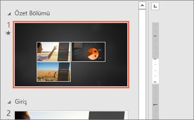 PowerPoint'te bir Özel Yakınlaştırma'nın Özet Bölümü slaydını gösterir.