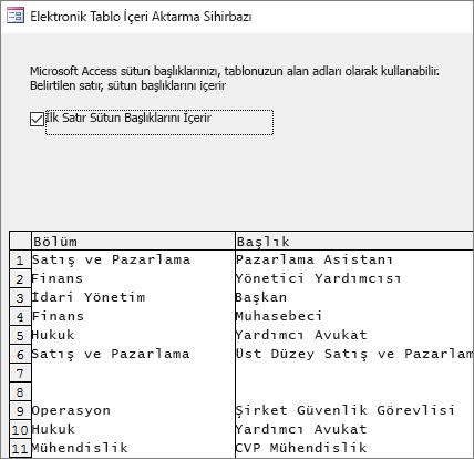 Verileri Excel'den içeri aktarma