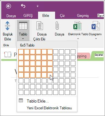 OneNote 2016'da tablo ekleme işleminin ekran görüntüsü.