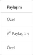 OneDrive İş'te Paylaşım durumunun görünümü