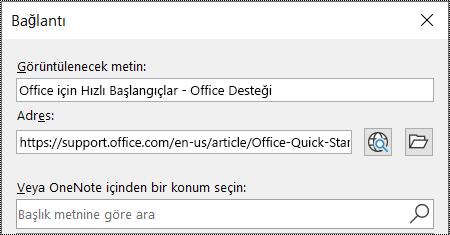 OneNote'ta bağlantı iletişim kutusunun ekran görüntüsü. Doldurulacak iki alan içerir: Görüntülenecek metin ve Adres.