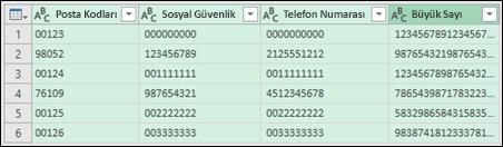 Al ve Dönüştür > Metne Dönüştür veri