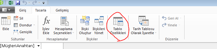 PowerPivot penceresinde Tablo Özellikleri komutunu gösteren şerit