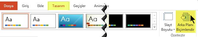 Arka Planı Biçimlendir düğmesi PowerPoint'teki Şerit'te bulunan Tasarım sekmesinde yer alır
