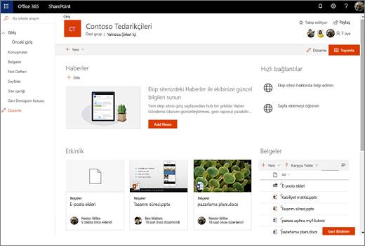 Bu yeni bir Office 365 grubu bağlandıktan sonra ekip sitesi gösterir ve eski ekip sitenize bağlantılar içerir.