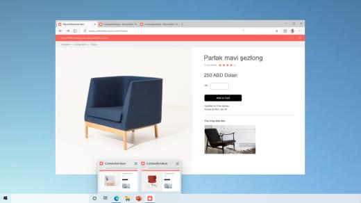 Görev çubuğuna sabitlenmiş bir site için iki Web sayfasının önizlemesi.