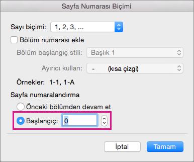 Bir başlangıç sayfa numarası seçmek için Başlangıç'ı seçin ve sonra bir sayı girin.