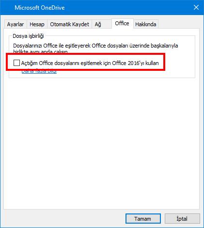 OneDrive ayarlarındaki Office Karşıya Yükle sekmesi