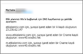 Wix.com'da bu DNS kaydı ayarlarını kullanın