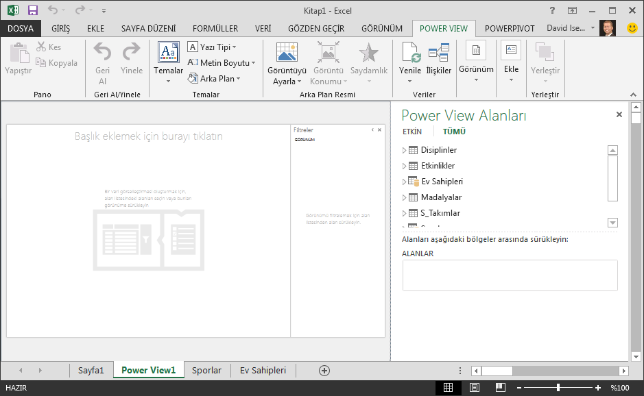 Excel'de boş bir Power View raporu