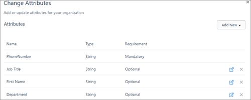 Ekran görüntüsü: Adı gibi Kaizala kullanıcılar özniteliklerinde değişiklik numarası ve iş unvanı telefon.