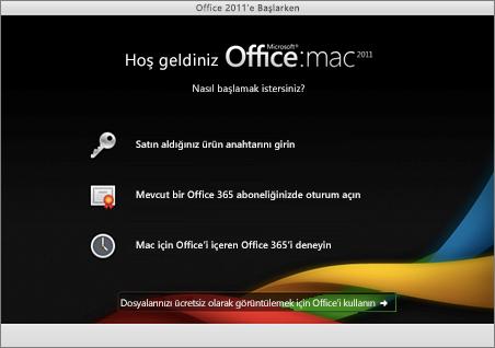 Mac için Office 2011'deki Hoş Geldiniz sayfasının ekran görüntüsü