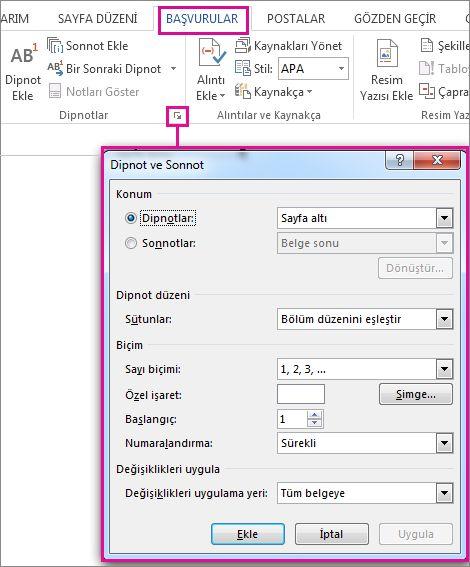 Dipnot ve son not özelleştirme kutusunu açma