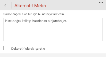 Windows Phone için PowerPoint 'te resimler için alternatif metin iletişim kutusu.