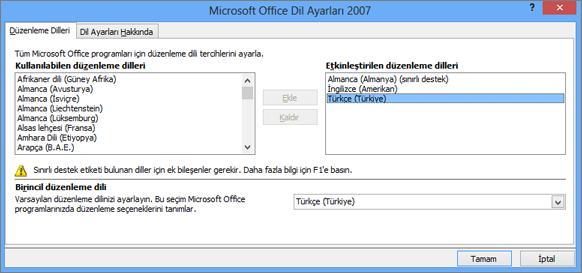Office 2007'de dil ayarları