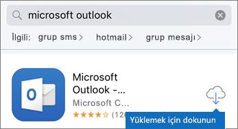 Bulut simgesine dokunarak Outlook'u yükleyin