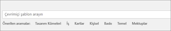 Çevrimiçi Word şablonlarını bulmak için kullanılan arama kutusu görüntülenir.