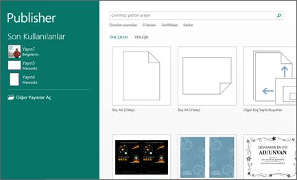 Publisher Başlangıç ekranındaki şablonların ekran görüntüsü.