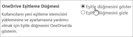 OneDrive eşitleme düğmesi için yönetici ayarları