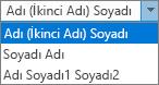 Kişiler, tam adı sipariş listesi seçeneklerini gösteren Outlook seçenekleri.