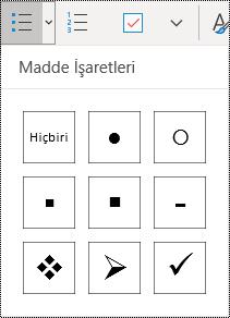 Windows 10 için OneNote'ta Giriş menüsü şeridinde seçili olan Madde işaretli liste düğmesi.