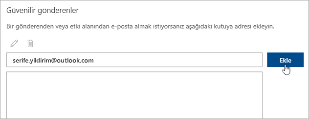 Güvenilir Gönderenler kutusunun ekran görüntüsü