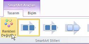 SmartArt grafiğinizin rengini değiştirin.