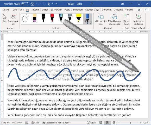 Mürekkep silme özelliği ve dijital kalem içeren Word belgesi
