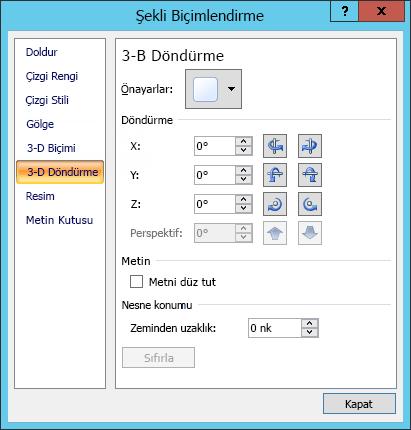 Şekil Biçimlendir iletişim kutusunda 3B Döndürme seçenekleri