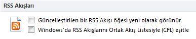 RSS Akışlarını Ortak Akış Listesiyle (CFL) Eşitle onay kutusu