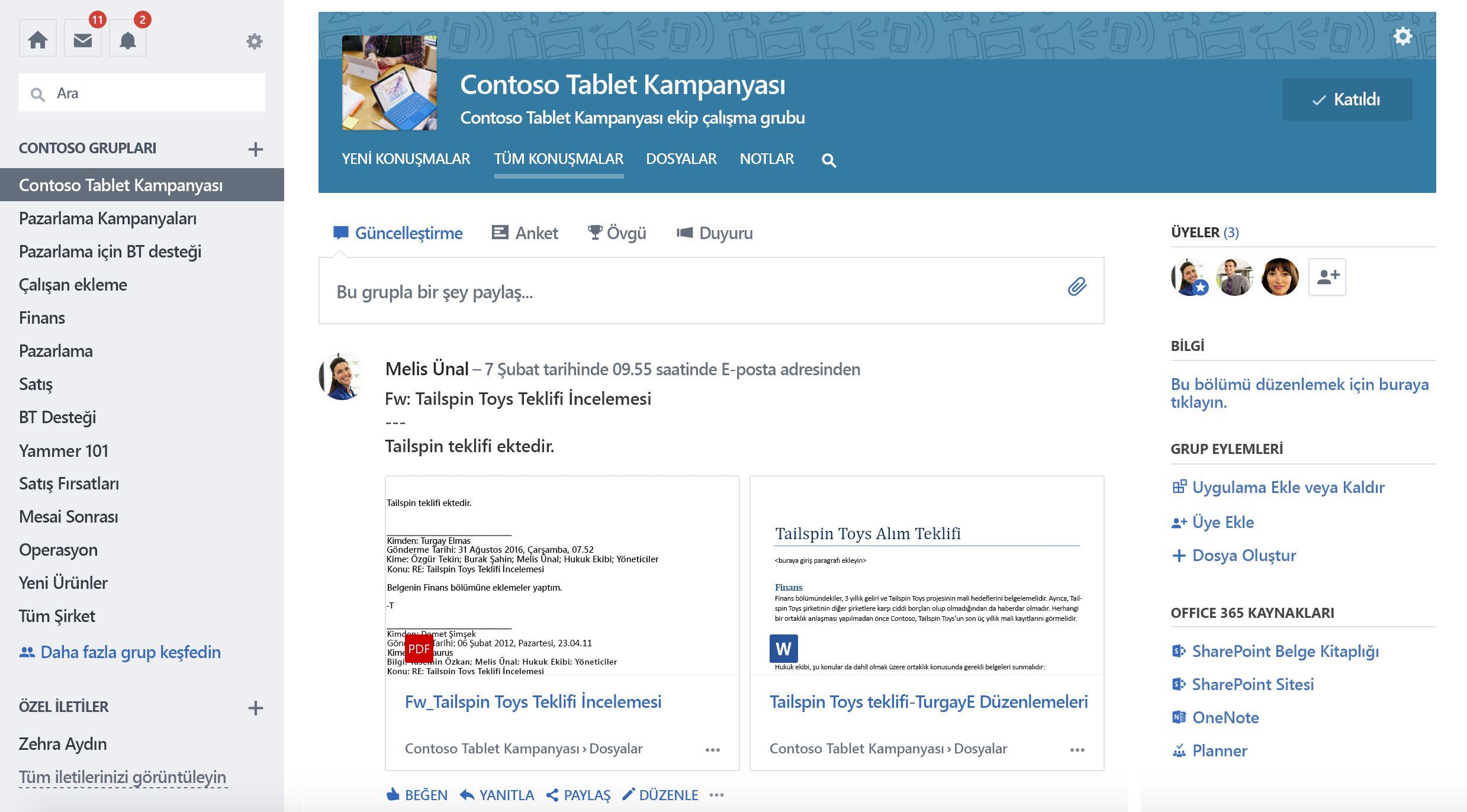 Office 365 bağlantılı Yammer Grup konuşmaları ekran görüntüsü