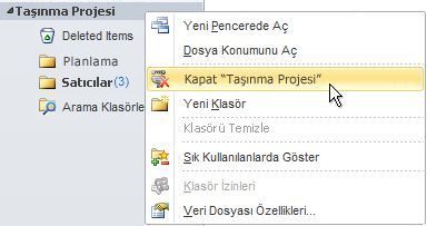Outlook Veri Dosyasını (.pst) Kapat komutu